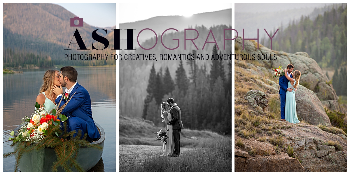 collage of three photos of couple - one of couple in a boat on a lake, kissing in the mountains, and a bride with her bouquet overlooking a mountain vista