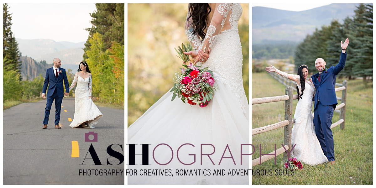 three photos of bride and groom in the mountains with Ashography logo