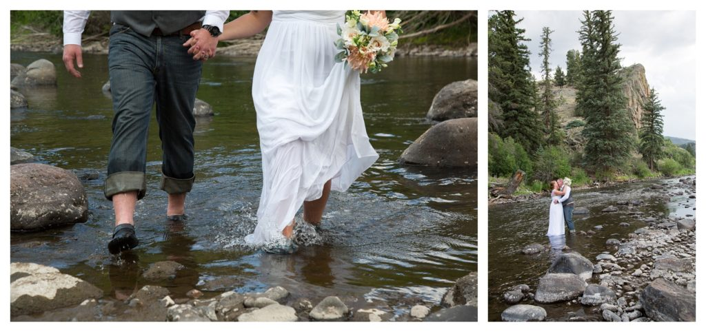 Wedding couple splashing and kissing in the Rio Grande river