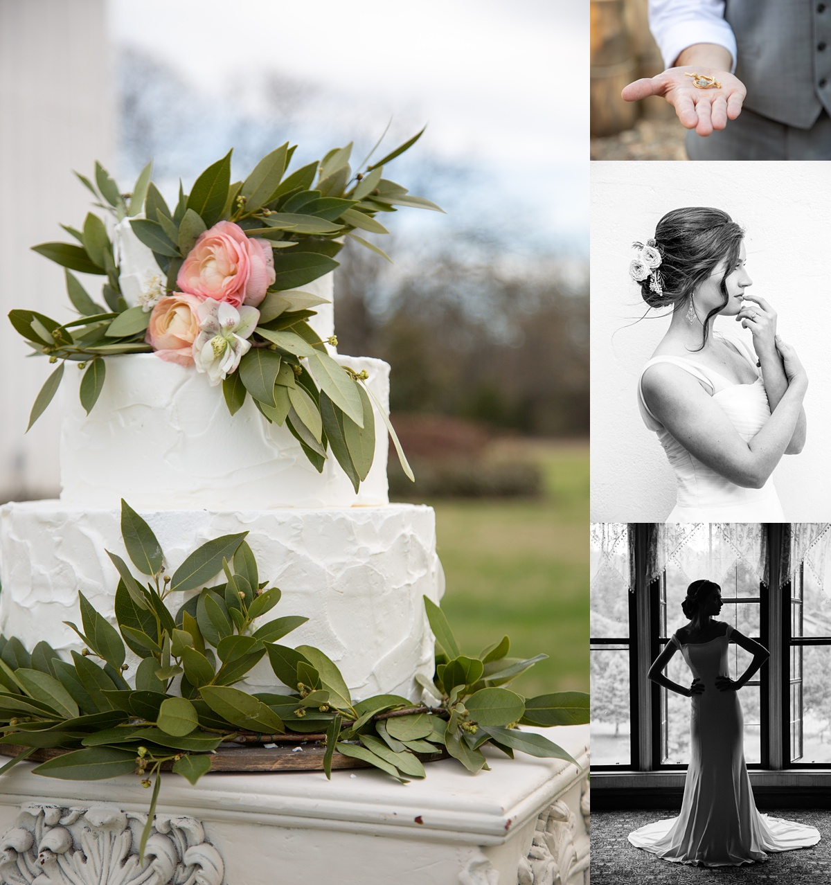 collage of photos with wedding cake, bride profile, bride silhouette, and groom with ring